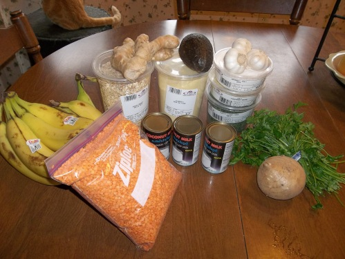 2 lbs. lentils, 1 lb org. oatmeal,1 lb. semolina, avacado, ginger, garlic,3.5lbs bananas, parsley, jicama,3 cans coconut milk, lg. container dried parley, fenugreek,arrow root