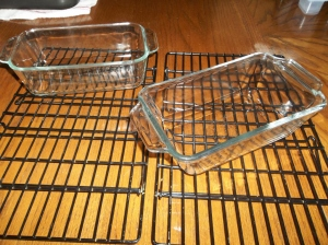 2 bread pans and 2 cooling racks for 1 reg loaf of rosemary garlic and 1 sm loaf of carrot