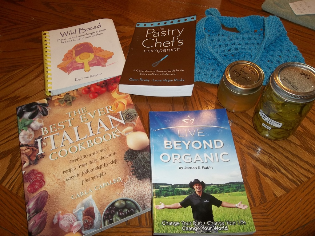 Peach jam, pickles, pineapple sage jelly, 4 books and a crochet purse!