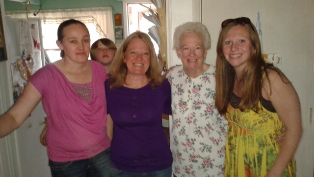 Celebrating Gram, to be my very last visit with her. Miss her lots.