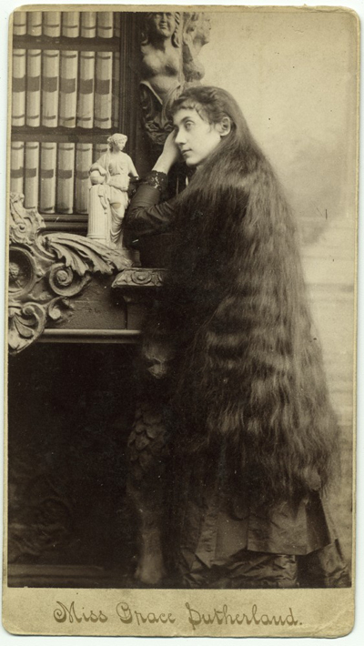 Grace Sutherland and her six sisters were famous for their long hair. Date ca. 1890. -