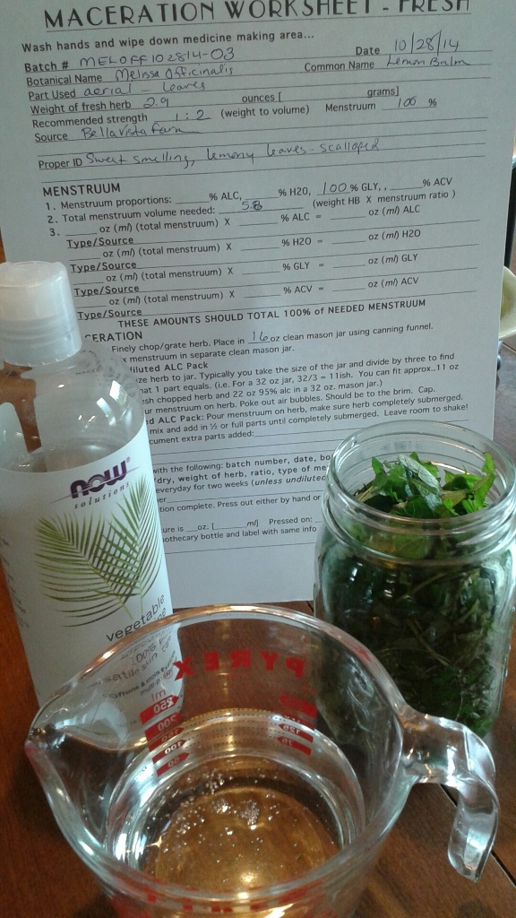 Vegetable glycerin, your filled jar, a measuring cup and your herb worksheet