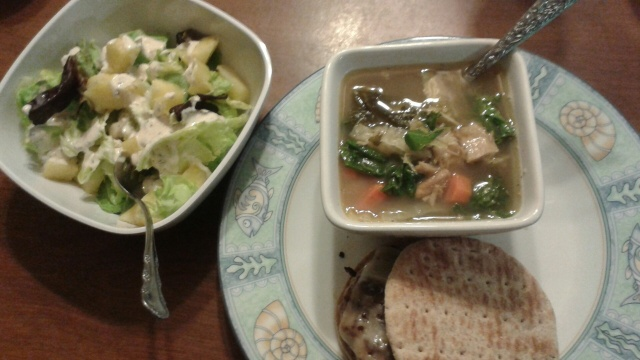 salad with homemade ranch, turkey burger and tom kha soup